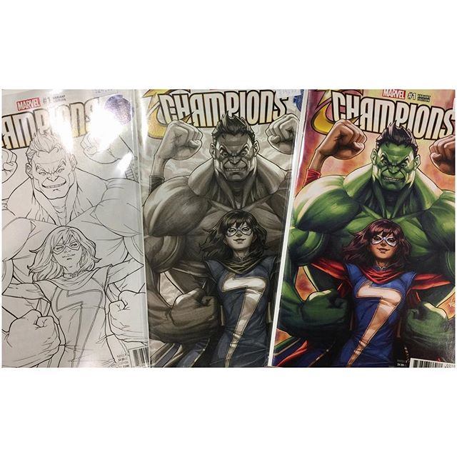 It's here!  Artgerm's first cover for Marvel is our exclusive Legacy Edition variant for Champions #1!  Available now @ legacycomics.com #artgerm #champions #marvel #msmarvel #totallyawesomehulk