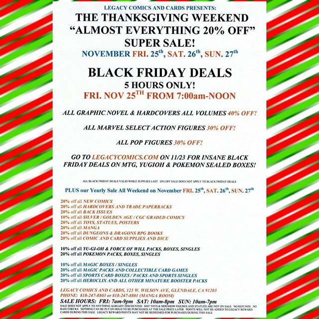Don't miss out!  Go to www.legacycomics.com for more #blackfriday deals to be revealed on Wednesday November 23rd