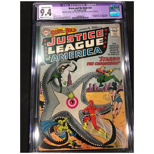 What a beauty this is!  Professionally restored 1st appearance of Justice League of America. Brave and the Bold #28. 2nd highest graded copy.  DM us with offers #cgc #justiceleague #justiceleagueofamerica #braveandthebold #igcomicfamily #igcomics #forsale #batman #superman #wonderwoman #flash #greenlantern